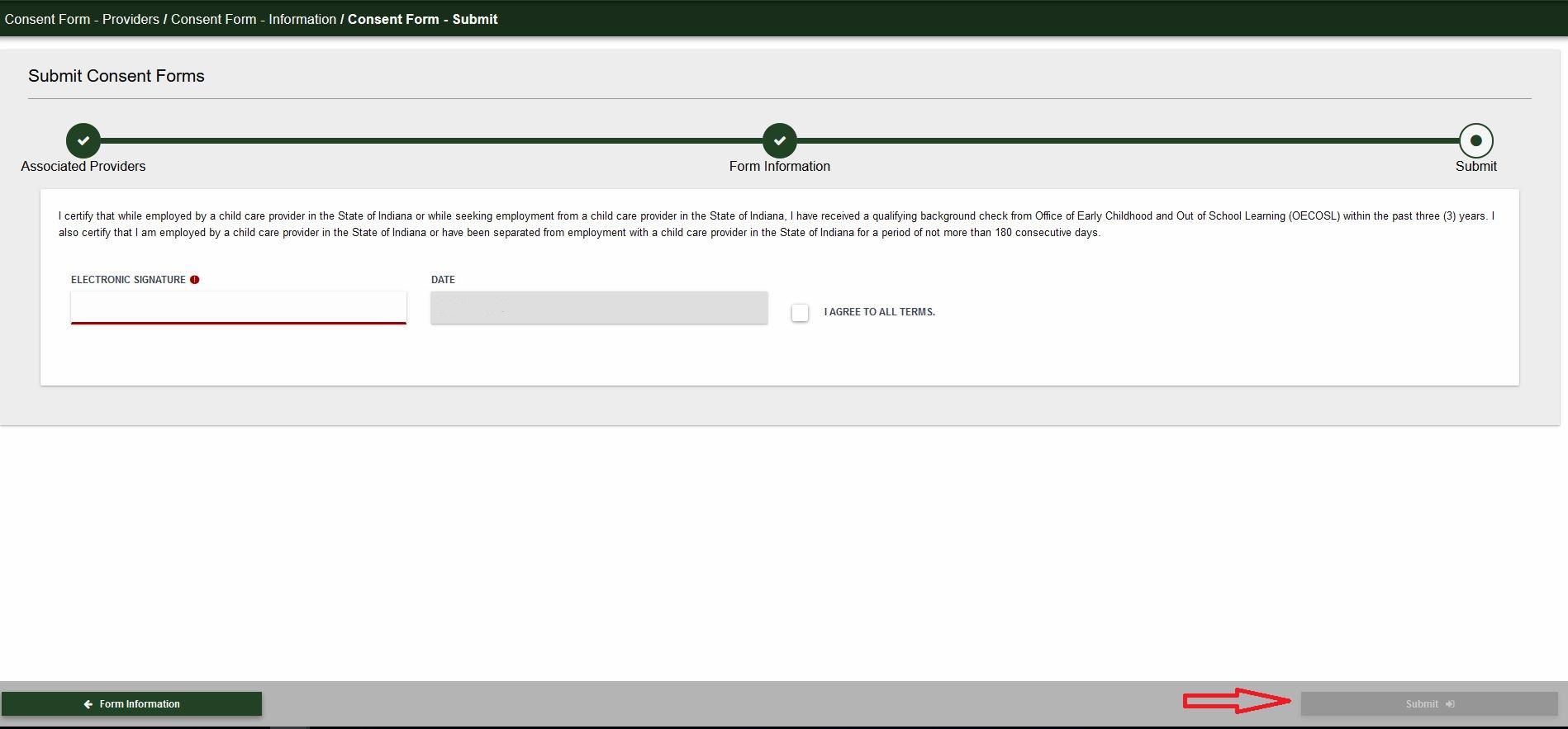 Submit screen screenshot